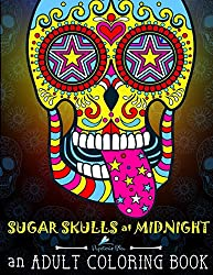 sugar skulls at midnight. Coloring pages printed on black paper