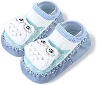 Clastik Baby Booties (0-9) Months, Anti Slip Socks Cum Booties with Rubber Sole and Rattle Sound (Baby Boys) ONLY ONE Pair