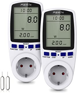 Maxcio Medidor de Consumo de Energía, Monitor de electricidad con Pantalla LCD Grande, 7 Modos Medidor de Consumo Elctrico...