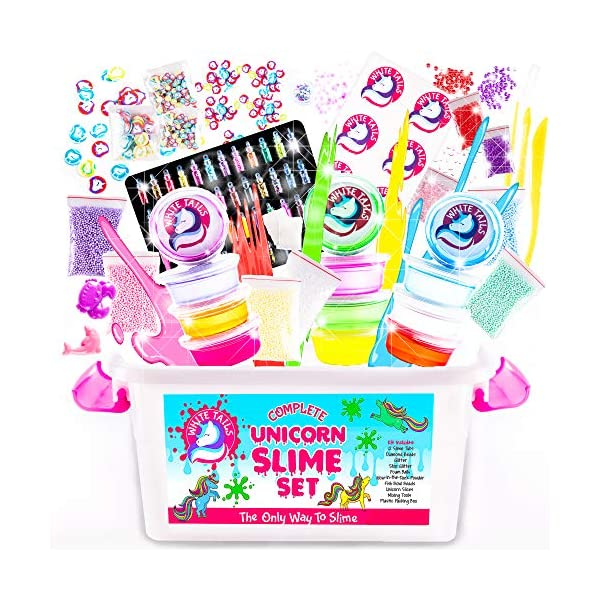 White Tails Unicorn Slime Kit for Girls and Boys 12 Containers of Clear Slime Unicorn Gifts for Girls 10