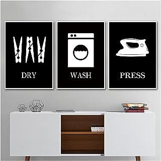 WQHLSH Laver la Presse à Sec Signe de la buanderie Décor Mural Noir Blanc Art Art Art Toile Peinture Poster Lessery Art Im...