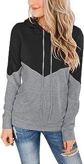 PRETTODAY Women's Long Sleeve Pullover Hoodies Tops Casual Color Block Sweatshirts
