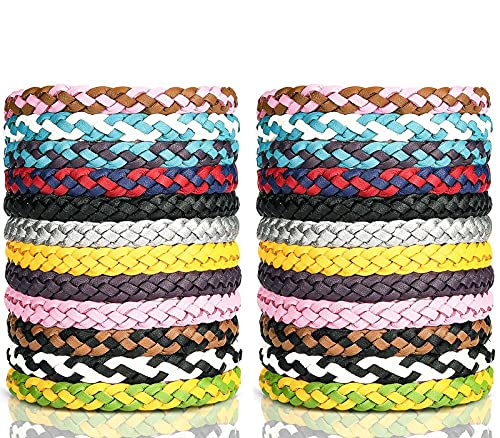 24Pcak Mosquito Bracelets, Braid Citronella Bands DEET Free Wristbands for Kids Adult Outdoor Indoor Protection Use-DEET Free