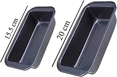 S.B. ANJALI SHALU BHAI Bread/Cake Mould, Rectangle Shape Carbon Steel Baking Tray Two Different Size: 15.5cm & 20cm Set :
