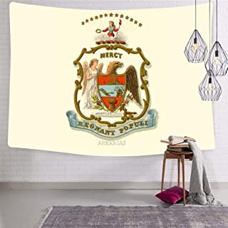 SHDU Retro Great Seal of State of Arkansas AK Tapestry Wall Hanging Bedding for Living Room Bedroom Dorm Home Decor Blanket 51.2 x 59.1 Inch
