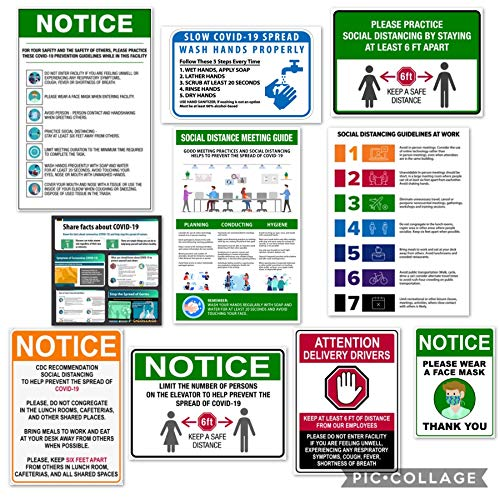 COVID-19 Sign Kit with Facts and Guidelines from The CDC - Adhesive, Easy to Remove and Reposition - Variety of Sizes and Signs for Entrances, Visitors, Employees - Green
