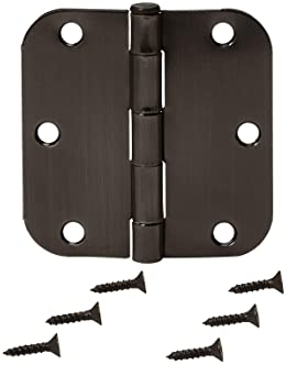 Amazon Basics Rounded 3.5 Inch x 3.5 Inch Door Hinges, 18 Pack, Oil Rubbed Bronze