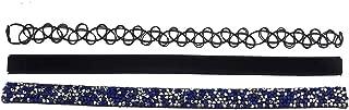 Lux Accessories Girls Choker Necklace Black Velvet Three Necklace Set 3PC