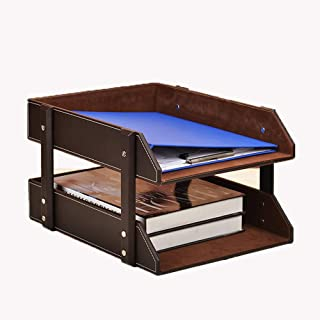 File Tray Office & School Supplies Lovely 2-grid A4 Wooden Leather Office Desktop File Book Magazine Stand Rack Holder Table Document Filing Box Organizer Brown