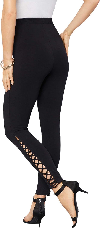 Roamans Women's Plus Size Lattice Essential Stretch Legging Activewear Workout Yoga Pants