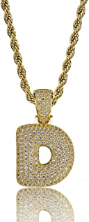 Simulated Diamond Iced Out Bubble Letter Pendant Rope Chain Initial Custom Name Necklace Gift Women Men