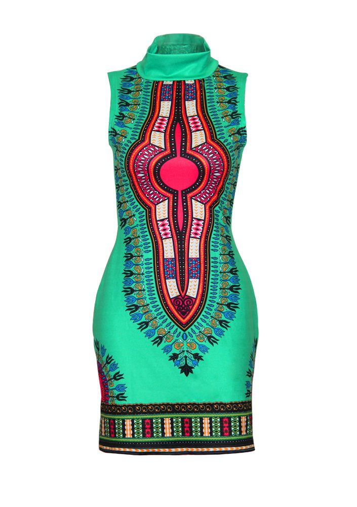 Available at Amazon: Women's Dashiki Traditional African Print Dresses High Collar Sleeveless Dress