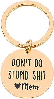 XINSTAR Porte-clés en acier inoxydable avec inscription « Don't Do Stupid Shit » - Cadeau de Noël ou d'anniversaire - Anti...