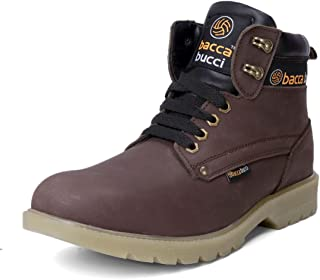 Bacca Bucci Mens 6 inches Water Repelent Steel Toe Cap Real Leather Nubuck Outdoor Laceup Boots/Warranted Qualtiy & Durable Boot-Brown