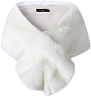 Caracilia Women's Faux Fur Shawl Wraps Stole Cloak Coat Sweater Cape for Evening Party/Bridal/Wedding