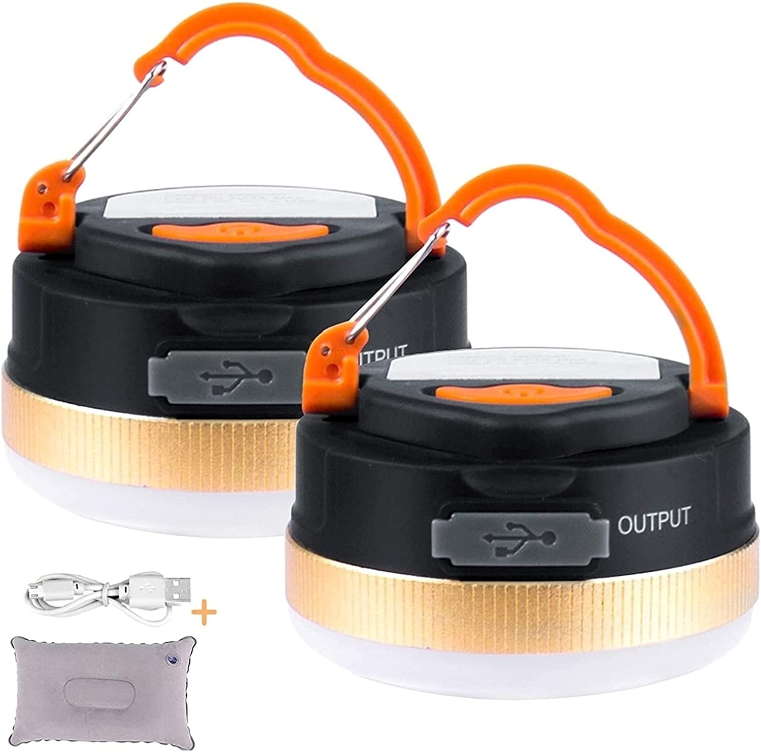 2 Pack Camping Lantern Flashlights Rechargeable USB Max 47% OFF Lamp Same day shipping