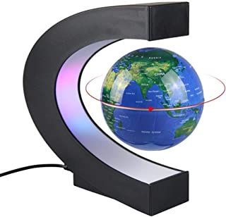 Aukee 3 inch C Shape Magnetic Levitation Floating Globe Maglev Globes World Map with LED Light for Teaching Home Office Desk Decoration Blue