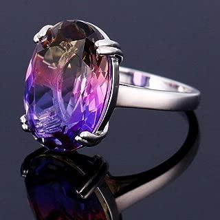 69 Sixty-Nine Fashion 925 Silver BI-Color Oval Watermelon Tourmaline Gems Wedding Jewelry Ring (8)