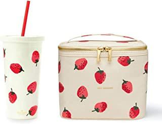 Kate Spade New York Strawberries Collection Cute Insulated Canvas Lunch Bag Gold Zippers With 20 oz Acrylic Tumbler with Flexible Reusable Red Straw Twist Top Double walled Leak Resistant