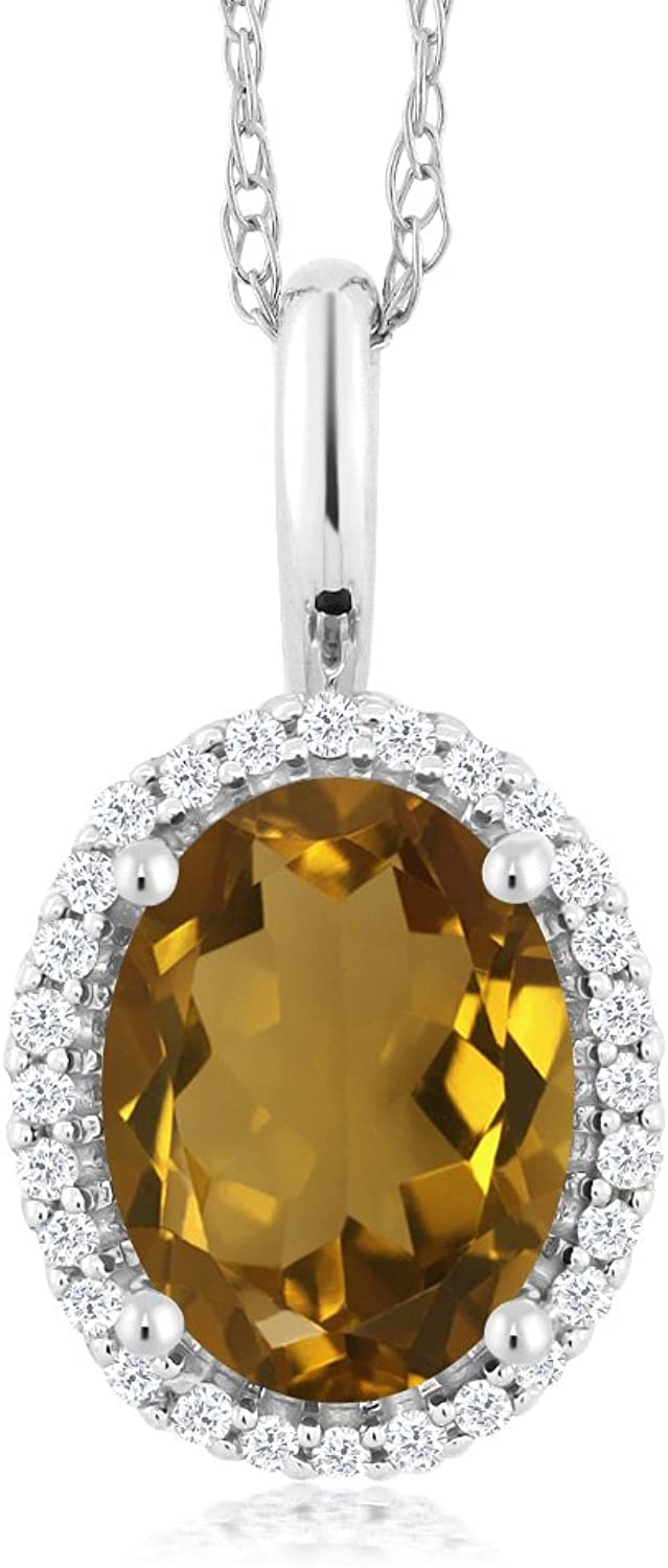 10K White gold 1.00 Ct Oval Whiskey Quartz and Diamonds Pendant With Chain