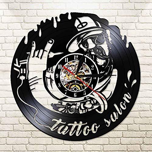 JXWH Silent Watch Tattoo Salon Uhr Tattoo Studio Wandschild Tattoo Shop Geschenk Dekoriert von Real Vinyl Record Einweihung