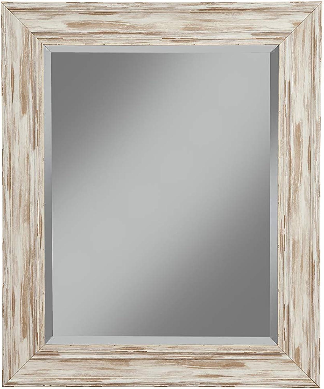 Benzara BM178092 Polystyrene Framed Wall Mirror with Sharp Edges, White