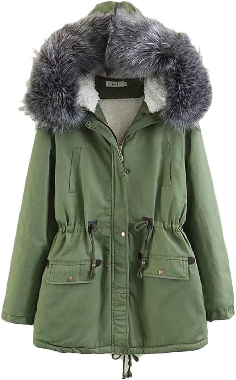 Gocgt Women Faux Fur Lined Warm Hooded Drawstring Coats Jacket