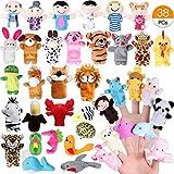 Joinfun 38 Stück Fingerpuppen Party Mitgebsel Cartoon Tier Hand Spielzeug Menschen Familienmitglieder für Kindergeburstag Gastgeschenk und Finger Plüschtier Stuffer für Ostereier Mitgebsel Weihnachten