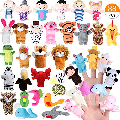 ACEHOOD Finger Puppets Cute Soft Velvet Cartoon Zoo Animals People Hand Puppets Toys for Toddlers Kids Baby (38 Pcs)
