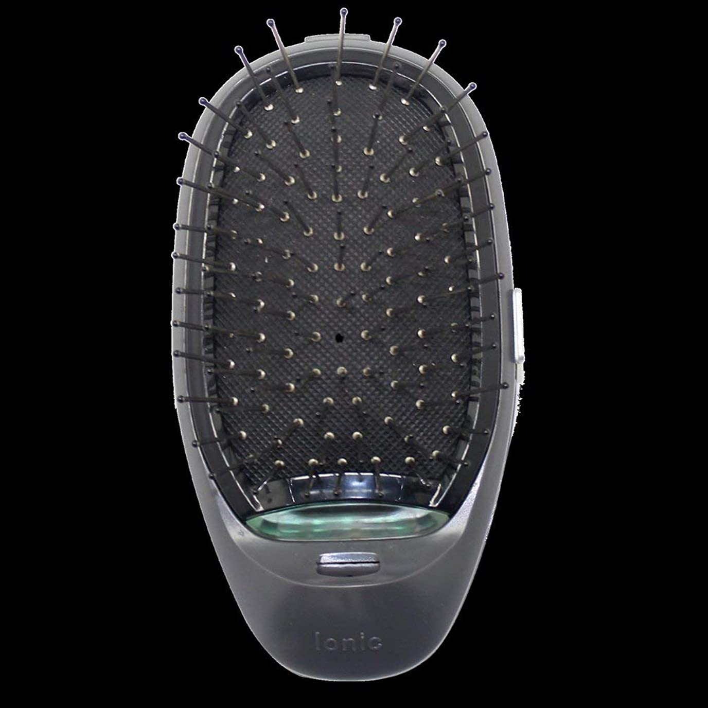 レーダーアシスタント予測する電動マッサージヘアブラシミニマイナスイオンヘアコム3Dインフレータブルコーム帯電防止ガールズヘアブラシ電池式 - ブラック