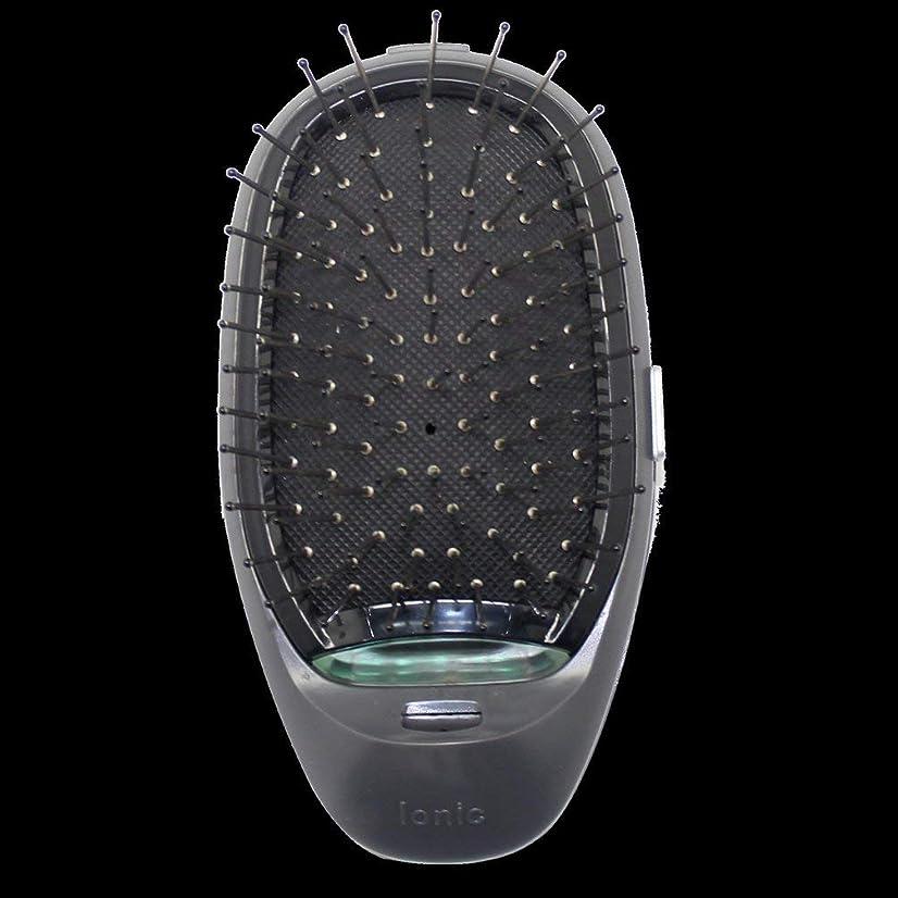 本気星家庭電動マッサージヘアブラシミニマイナスイオンヘアコム3Dインフレータブルコーム帯電防止ガールズヘアブラシ電池式 - ブラック