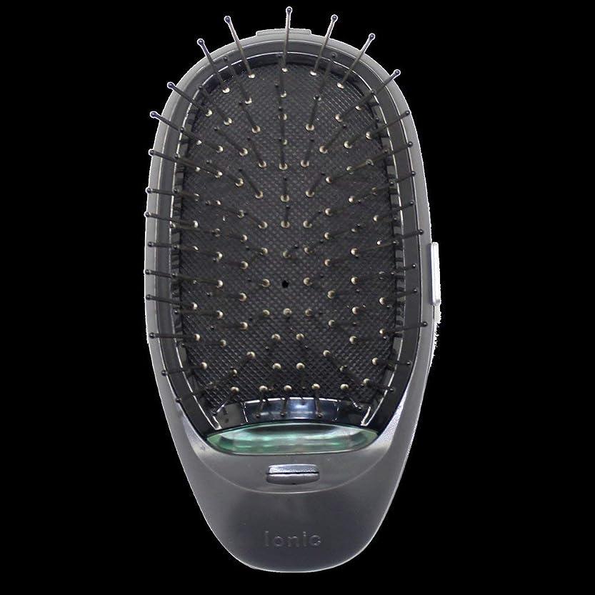 ご注意繁栄算術電動マッサージヘアブラシミニマイナスイオンヘアコム3Dインフレータブルコーム帯電防止ガールズヘアブラシ電池式 - ブラック