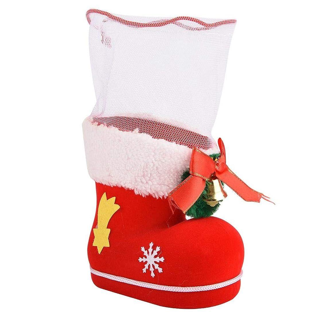 第しょっぱい些細Asixx クリスマスギフトソックス お菓子袋 キャンディー袋 お菓子?キャンディ?チョコレート?クッキー お菓子入れ 靴型 ギフトバッグ 子供 サンタ袋 クリスマス パーティー 雰囲気作り(L)