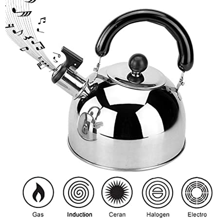 N//Y Hervidor de t/é con Silbato de Acero Inoxidable hervidor de Agua con silbido de 3 litros con Mango ergon/ómico para Todas Las Estufas Estufa de Placa el/éctrica de Gas