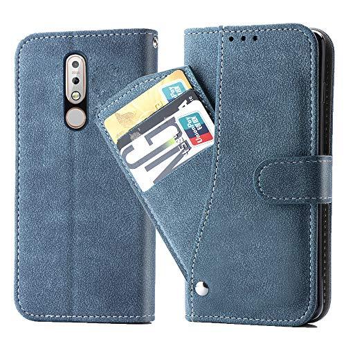 Asuwish Nokia 7.1 Hülle,Leder Lederhüllen klappbar Schutzhülle Wallet Hülle Mit Kartenfach Ständer Stand Dünn Stoßfest HardWallet Hülle Panzerglas + Handyhülle für Nokia 7.1 Blau