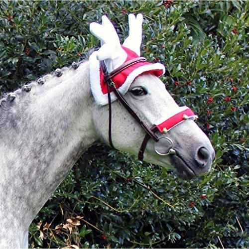 QHP Rentier Hut für Ihr Weihnachts-Outfit rot, weißer Plüschrand weißes Geweih (Pony)