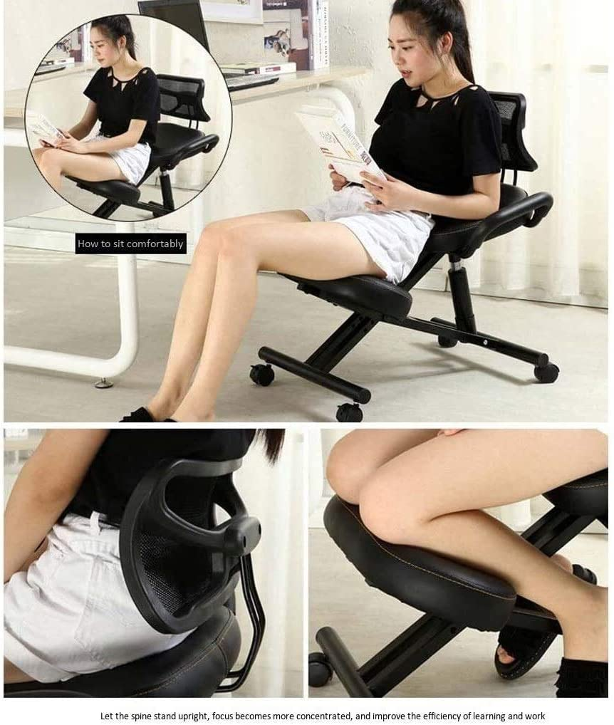 HUXIUPING Genoux Chaise Haute Elasticité Chaise de Bureau Ergonomique orthopédique Tabouret réglable avec Dossier avec poulie (Color : Purple) Purple