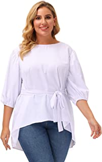 Women's Plus Size Puff Sleeve Belted Casual Work Peplum Blouse Shirts Tops