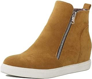 SaraIris Hidden Heel Platform Wedges Sneakers for Women Side Zipper Fashion Sneakers Ankle Booties High Top Casual Shoes