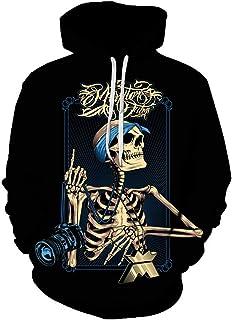 Retro Beautiful Rose Flowers And Skeleton 3D Print Black Hoodies Sweatshirt Gothic Skull Locomotive Wind Men Women Pullovers