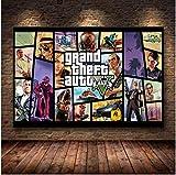 WDQFANGYI Póster del Juego Grand Theft Auto V GTA 5 Lienzo Artístico Impreso Pintura Cuadros De Pared para Decoración De Habitación Decoración del Hogar Decoración De Pared 50X70Cm (FLL2428)