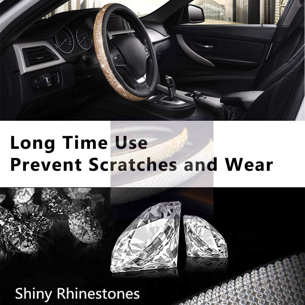 Standard Size 14.5 to 15 inch Nontoxic Anti-Slip Excellent Grip Silver Elegant Thick AUTOYOUTH Bling Crystal Studded Rhinestone Steering Wheel Cover for Women