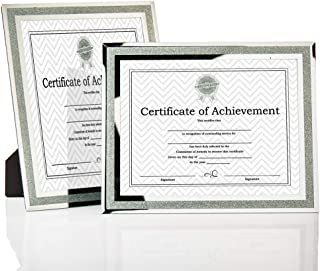 meetart Silver Glitter Crystal Sparkle Mirror Glass Certificate Frame Document Frame8.5x11 inch Pack of 2 Pieces