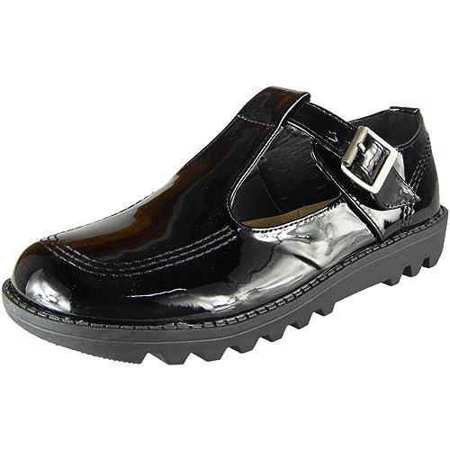 Womens Low Heel Pumps Ladies Kids Flat T-Bar Work Office Girls School Shoes  Size e3da0ca1ec