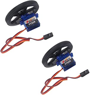 2 X Feetech FT90R Digital 360 Degree Continuous Rotation Micro RC Servo with 2 X Wheel
