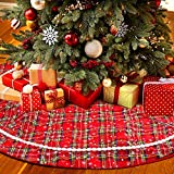 Aitsite Buffalo Plaid Christmas Tree Skirt 48 Inch Thick Rustic Xmas Tree Skirt for Christmas New Year Holiday Party Home Ornaments Decorations Indoor Outdoor (Red)