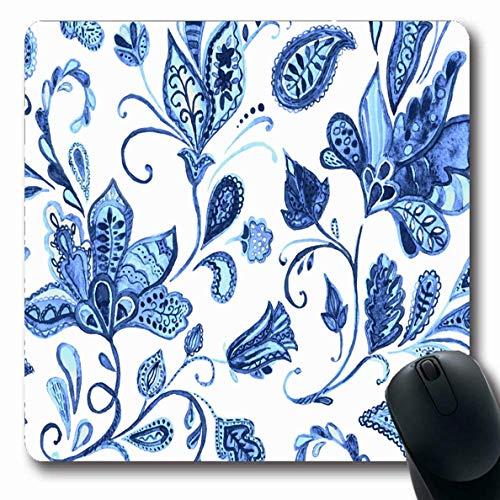 Jamron Mousepad OblongPaisley Zusammenfassung Usbekisch Asien Arabisch Aquarell Design Blumenmuster Indische Fliesen Blumen Texturen Rutschfeste Gummimaus Pad B眉ro Computer Laptop Spiele Mat.-Nr.