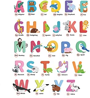 Vinyl Wall Decal 26 Alphabets and 26 Alphabet Words Representative Animals Wall Decorative Self Adhesive Peel and Stick Re...
