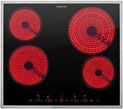 Klarstein Virtuosa 4 Prime - Placa vitrocerámica, acero inoxidable, panel de control táctil, temporizador, potencia ajustable 9 niveles, 59 x 52 cm, 4 zonas de cocción, 6500 vatios total, Negro