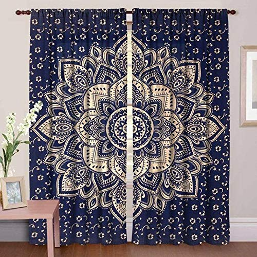 """Real Online Seller Cotton Mandala Curtain Kitchen Window Curtains & Valance Set 48""""x78"""" Inches Dorm Tapestry,Indian Drape Balcony Room Decor Curtain Pair Boho Set Hippie Curtain Panel - Blue Color"""